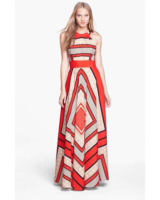 Eliza J | Multicolor Scarf Print Crepe De Chine Fit & Flare Maxi Dress | Lyst