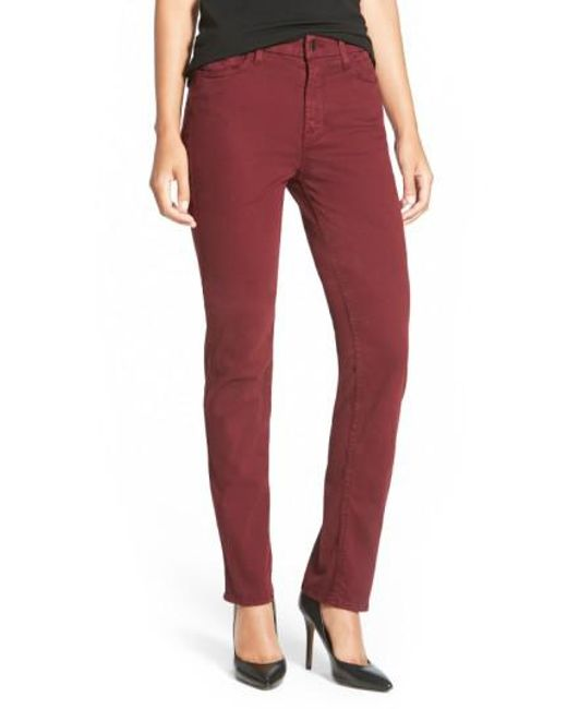 Jen7 | Purple Stretch Sateen Slim Straight Leg Pants | Lyst