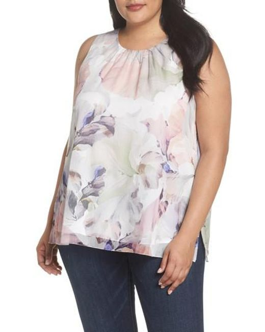 Vince Camuto - White Diffused Blooms Blouse - Lyst