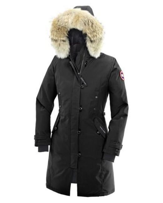 Canada Goose | Black 'kensington' Slim Fit Down Parka With Genuine Coyote Fur Trim | Lyst