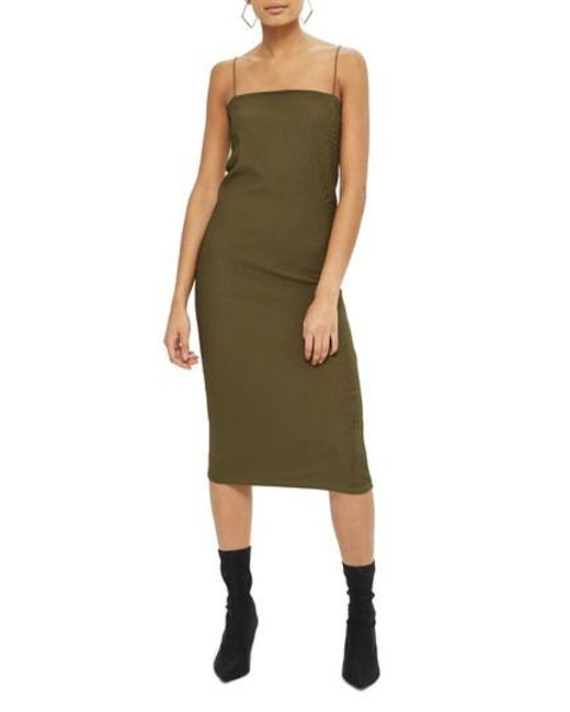 TOPSHOP | Green Square Neck Body-con Midi Dress | Lyst