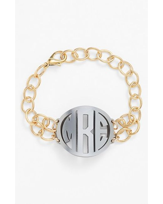 Moon & Lola | Metallic 'annabel' Medium Personalized Monogram Bracelet | Lyst