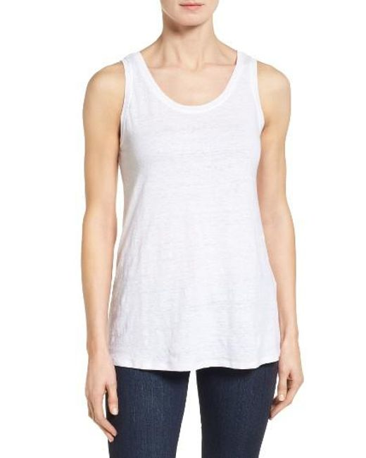 Eileen Fisher | White U-neck Organic Linen Tank | Lyst