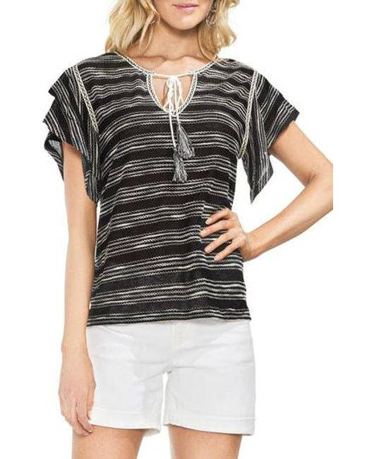 a760c58bb55f8 Lyst - Vince Camuto Tiered Sleeve Striped Top in Black