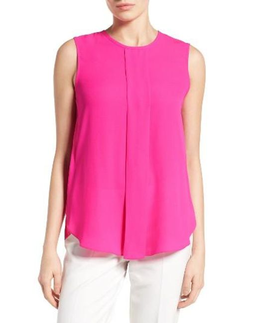 Vince Camuto | White Center Pleat Sleeveless Blouse | Lyst