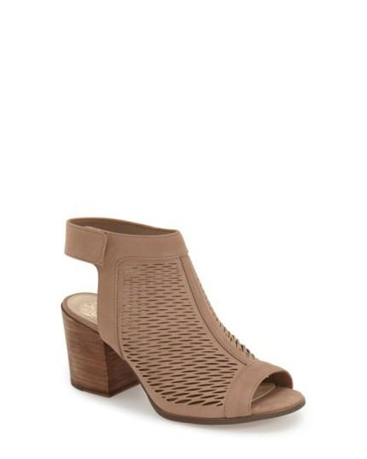Vince Camuto | Brown Lavette Perforated Peep-Toe Booties | Lyst