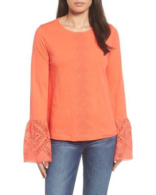 Caslon - Orange Caslon Eyelet Bell Sleeve Top - Lyst