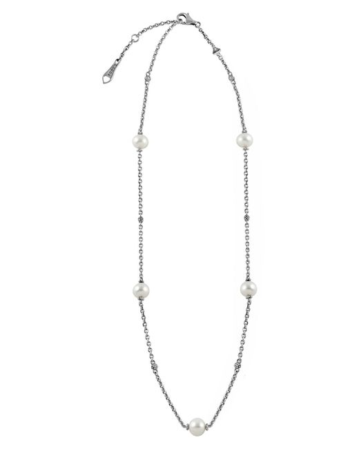 Lagos - Metallic 'luna' Pearl Station Necklace - Lyst