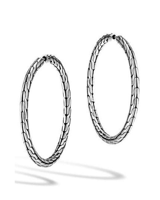 John Hardy | Metallic 'classic Chain' Medium Hoop Earrings | Lyst