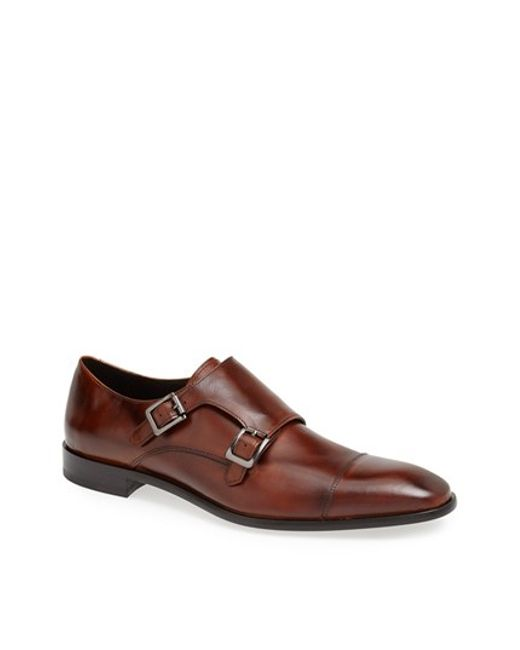 Calibrate | Brown 'cusano' Double Monk Shoe for Men | Lyst