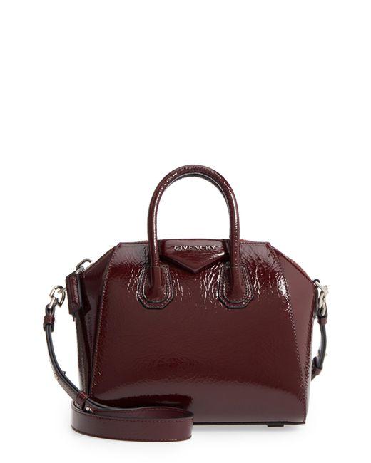 Givenchy - Purple Mini Antigona Patent Leather Satchel - Burgundy - Lyst