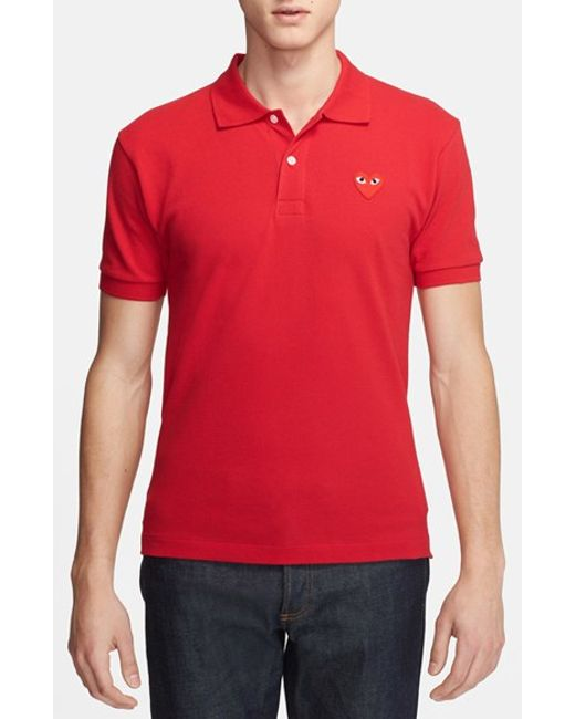 Comme des Garçons | Red Play Pique Polo With Heart Applique for Men | Lyst