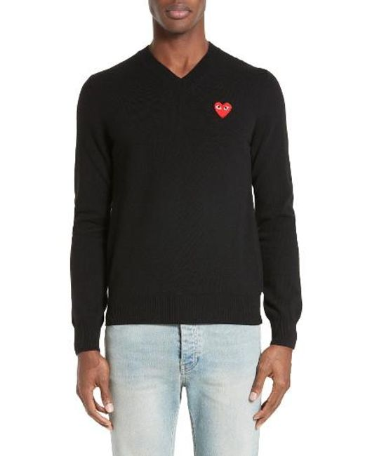 Comme des Garçons | Red 'play' Wool V-neck Sweater With Heart Applique for Men | Lyst