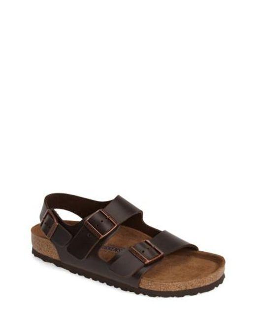 Birkenstock | Brown 'milano' Soft Footbed Sandal for Men | Lyst