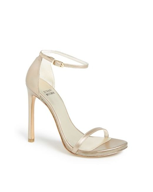 Stuart Weitzman | Nudist Metallic Leather D'Orsay Sandals | Lyst