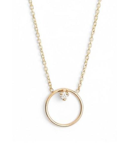 Zoe Chicco - Metallic Diamond Circle Necklace - Lyst