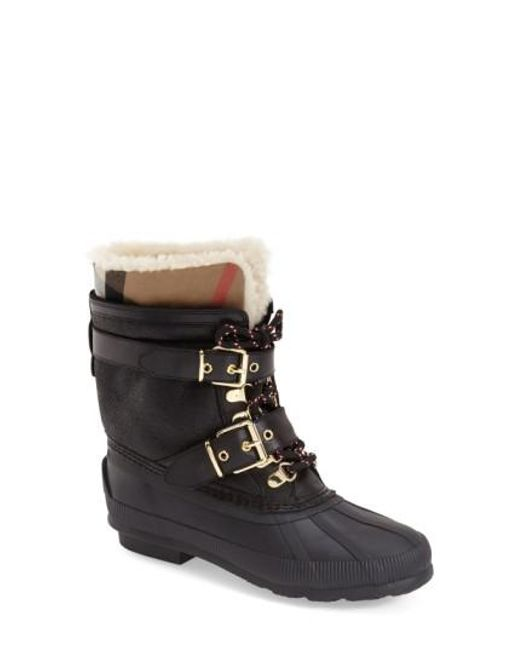 Burberry | Black Windmere Buckled Leather and Shearling Boots | Lyst