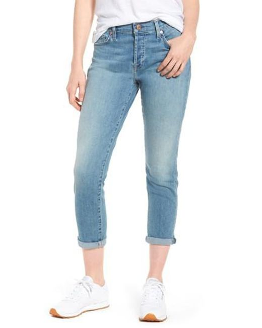 7 For All Mankind - Blue 7 For All Mankind Josefina Crop Boyfriend Jeans - Lyst