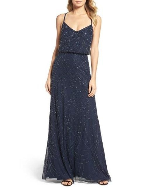 Adrianna Papell | Blue Beaded Chiffon Gown | Lyst