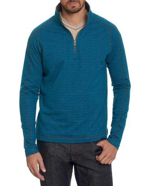 Robert Graham   Blue Warrensburg Herringbone Quarter Zip Pullover for Men   Lyst