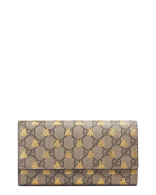 8ed3cb79a39a Gucci - Multicolor Linea Bee Gg Supreme Continental Wallet - - Lyst ...