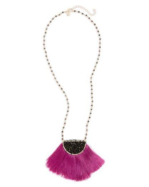 Panacea   Metallic Fringe Pendant Necklace   Lyst
