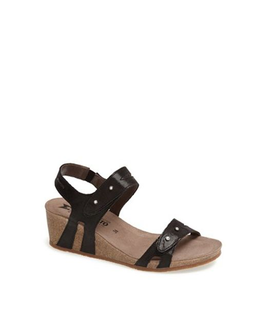 Mephisto | Black 'minoa' Wedge Sandal | Lyst