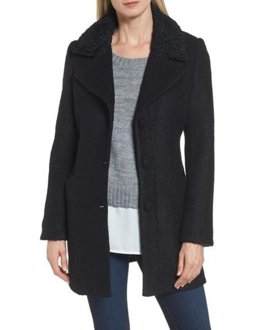 Laundry by Shelli Segal | Black Contrast Collar Boucle Coat | Lyst