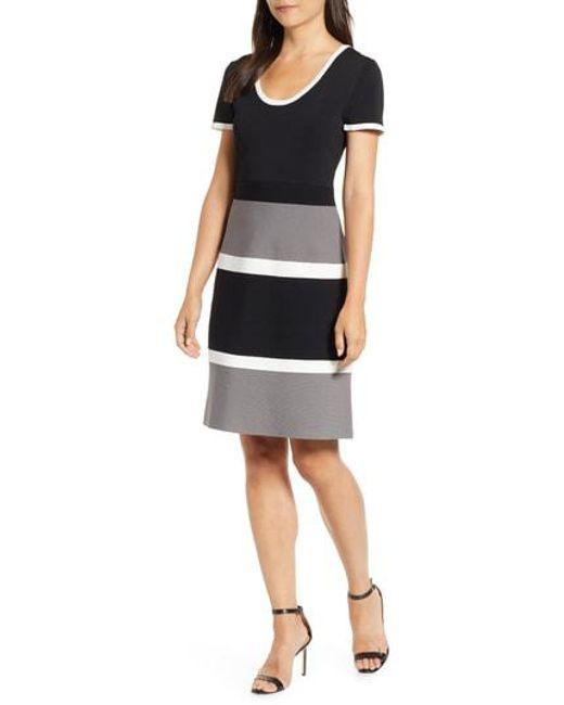 ab18b820 Lyst - Anne Klein Colorblock A-line Knit Dress in Black