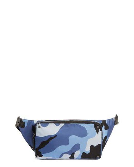 Valentino - Blue Garavani Camo Waist Pack for Men - Lyst