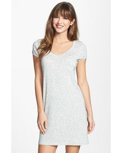 DKNY   Gray 'city Essentials' V-neck Sleep Shirt   Lyst