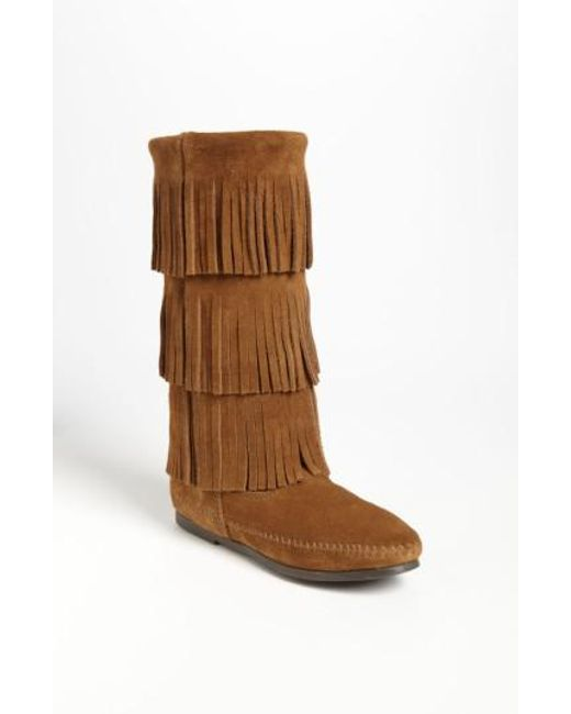 Minnetonka - Brown 3-layer Fringe Boot - Lyst