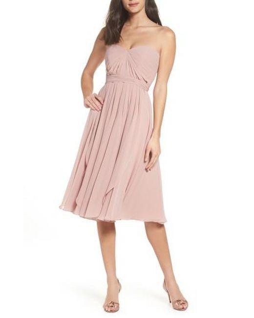 Jenny Yoo - Pink Emmie Convertible Chiffon Tea-length Dress - Lyst