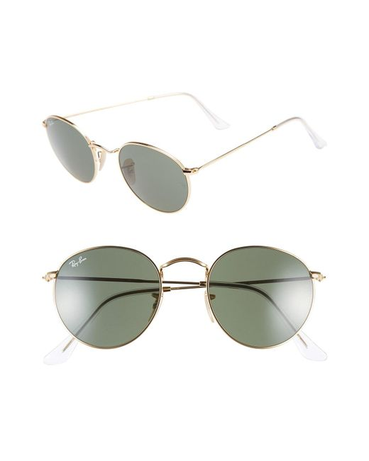 4f7b138e017 Lyst - Ray-Ban Icons 50mm Round Metal Sunglasses in Green for Men