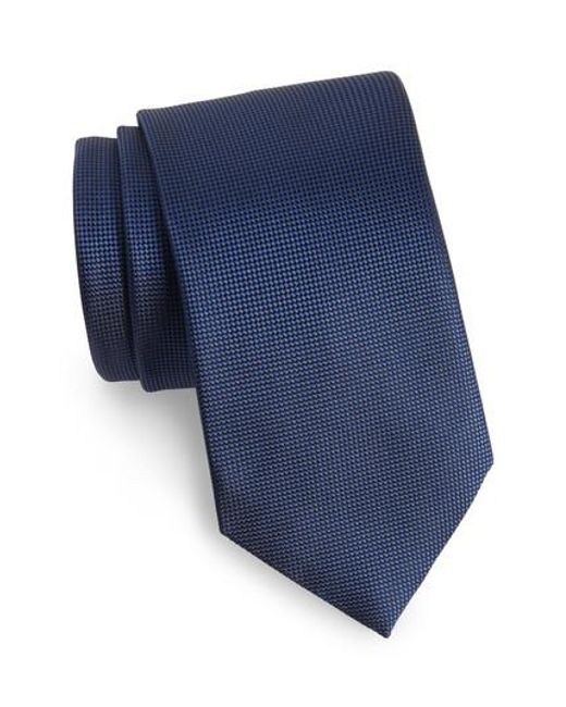 Ermenegildo Zegna - Blue Solid Silk Tie for Men - Lyst