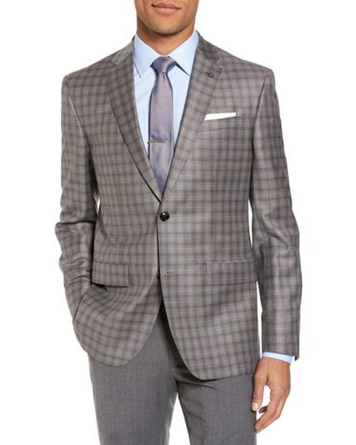 Ted Baker - Gray Jay Trim Fit Plaid Wool Sport Coat for Men - Lyst