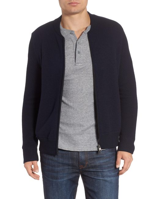 Woolrich - Gray Felted Wool Bomber Jacket for Men - Lyst