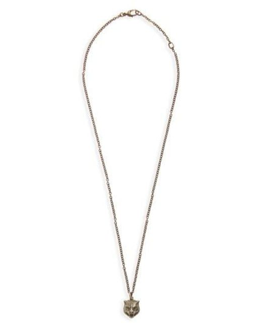 Gucci - Metallic Feline Head Pendant Necklace for Men - Lyst