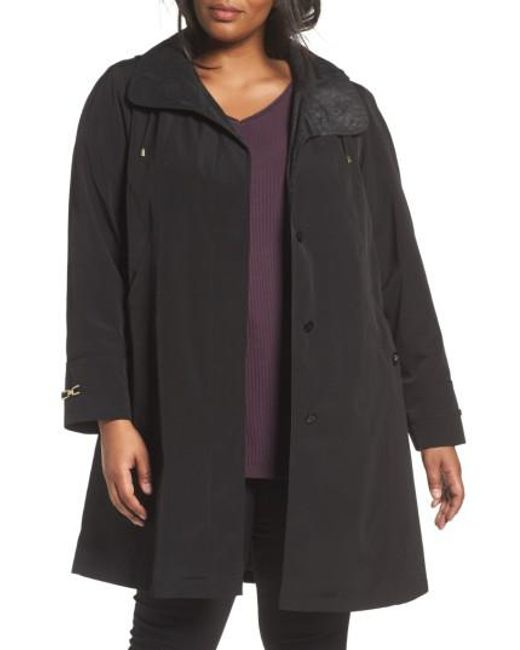 Gallery - Black Long Silk Look Raincoat - Lyst