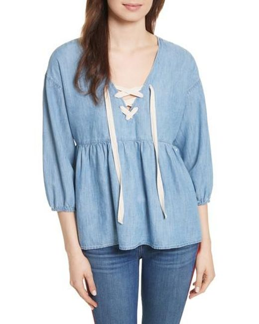 Joie | Blue Bealette Lace-up Chambray Top | Lyst