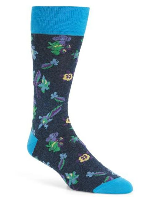 Bugatchi | Blue Floral Socks for Men | Lyst