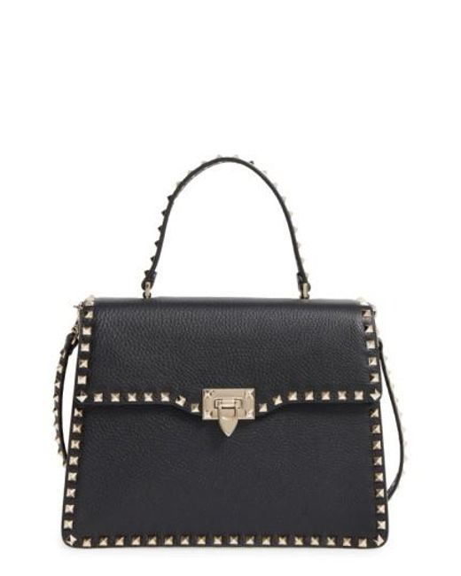 Valentino - Black Rockstud Leather Satchel - Lyst