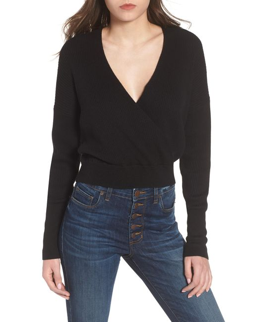 Leith - Black Rib Wrap Sweater - Lyst
