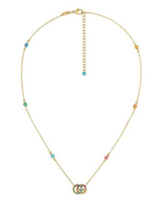 Gucci - Metallic Running G Semiprecius Stone Pendant Necklace - Lyst