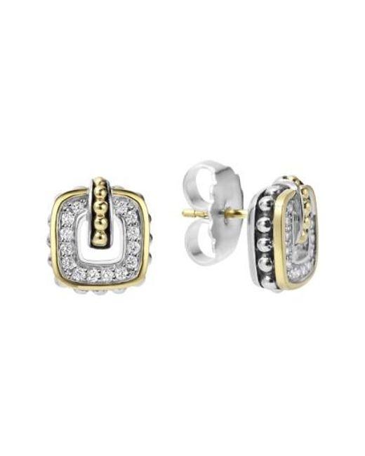 Lagos - Metallic 'cushion' Stud Earrings - Lyst
