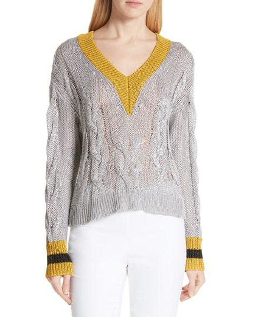 Rag & Bone Emma Cable Knit Sweater in Gray - Lyst