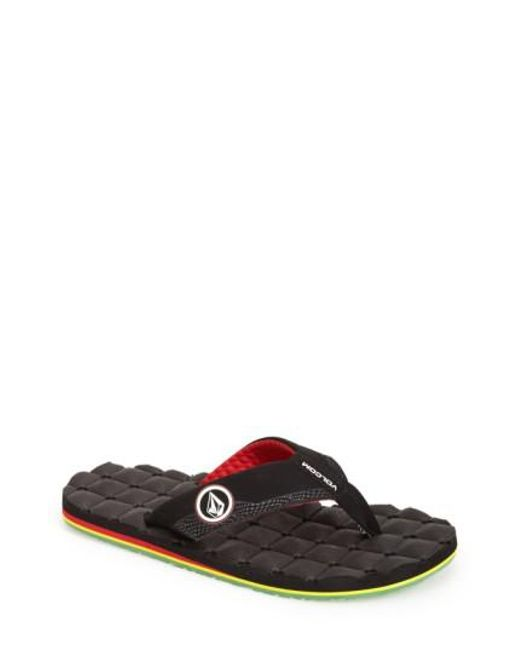 Volcom - Black 'recliner' Flip Flop for Men - Lyst