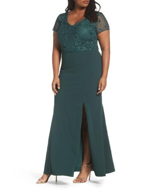 Adrianna Papell | Green Beaded Crepe Gown | Lyst