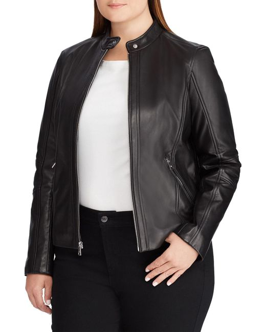 Lauren by Ralph Lauren - Black Leather Moto Jacket - Lyst
