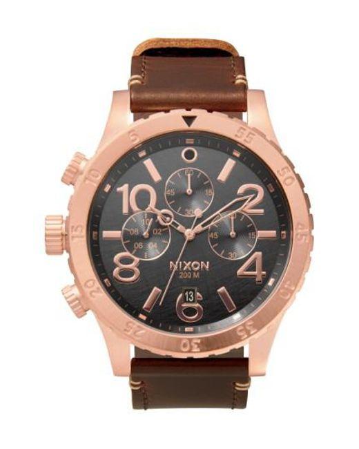 Nixon | Metallic 'the 48-20' Chronograph Leather Strap Watch for Men | Lyst